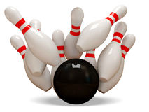 3d Bowling Ball crashing into the pins on white ba Royalty Free Stock Images