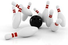3d bowling, batida isolada no branco ilustração stock