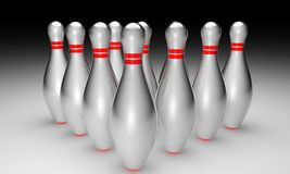 3d bowling on black background Stock Photo