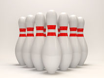 3d Bowling Pins on white background. 3d Image Stock Photo