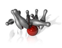 3D bowling strike. Ten metal bowling skittles and red ball on white background - three dimensional illustration Royalty Free Stock Photo