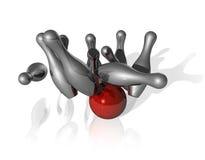 3D bowling strike Royalty Free Stock Photo