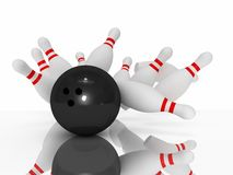 3D bowling strike. 3D rendered strike: bowling ball which fun impact ten pins isolated on white Royalty Free Stock Photography
