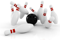3d bowling, strike isolated on white Stock Images