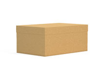 3d box. 3d brown box on white Stock Photo