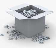 3d box of alphabets. 3d render of box fill with alphabets. Concept of eduction and learning Stock Image