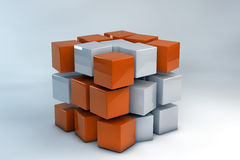 3D Box of cubes. 3D Box of orange and white cubes Stock Photo