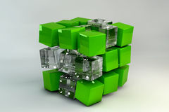 3D Box of cubes. 3D Box of glass and green cubes Stock Image