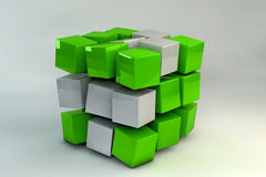 3D Box of cubes. 3D Box of green and white cubes Stock Images