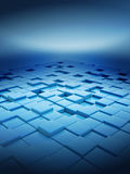 3d box floor. On blue background Stock Image