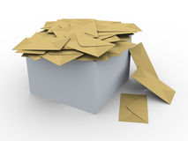 3d box full of envelopes. 3d illustration of box full of envelopes Stock Photo
