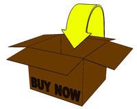 3d box, internet buy now. 3d buy now box on a white background. Isolated object for internet shop Stock Image