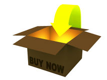 3d box, internet buy now Stock Photography