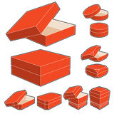 3d box with opened and closed lids Stock Photo