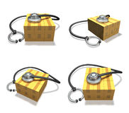 3d box and stethoscope range four set Stock Images