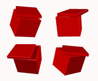 3D boxes. Red 3D boxes with lids Royalty Free Stock Images
