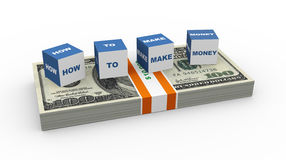 3d boxes - how to make money. 3d render of boxes how to make money on the US dollar pack Stock Photos