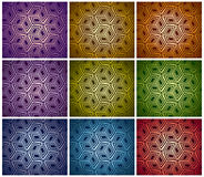 3d boxes repeat backgrounds set. Set of different color halftones geometric patterns. 3d boxes repeat backgrounds collection Royalty Free Stock Images