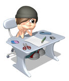 3D boy doing homework. Young student boy dreaming while studying Royalty Free Stock Photo