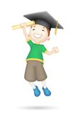 3d Boy with Mortar Board. Illustration of jumping 3d boy with mortar board Royalty Free Stock Photography