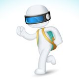 3d Boy with School Bag in vector. Illustration of 3d boy running with school in fully scalable Stock Photography