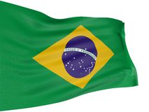 3D Brazilian flag. With fabric surface texture. White background Stock Photos