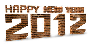 3D brick render Happy new year 2012 on a white. With Save path for Change background royalty free illustration
