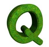 3d brief Q in groen gras stock illustratie