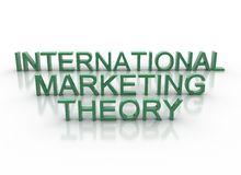 3d brieven die internationale marketing theorie spellen Royalty-vrije Stock Afbeelding