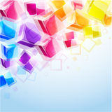 3d bright abstract background. With transparent cubes - illustration stock illustration