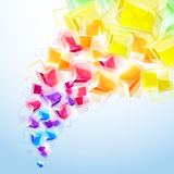 3d bright abstract background. With transparent cubes - illustration vector illustration