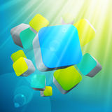3d bright abstract background with cubes. Illustration Stock Image