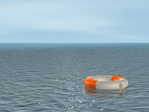 3d bright lifebuoy ring, floating on waves Stock Images