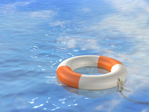 3d bright lifebuoy ring, floating on waves Stock Photography