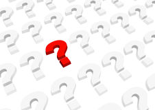 3d bright red question mark. Object over white Royalty Free Stock Images