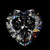 3d brilliant cut diamond. Isotated on black Stock Photos