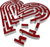 3d brocken тип вектор лабиринта сердца Стоковые Фотографии RF