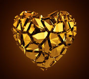 3d broken golden crystal heart Royalty Free Stock Photography