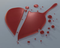 3D broken heart. 3D red broken love heart on gray background Stock Image