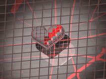 3D broken silver love heart. 3D image of silver broken love heart over reflective grey background Stock Photo