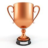3d bronze cup trophy. Isolated on white Stock Photography