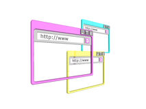 3d brower windows. 3d Illustration of three internet browser windows, isolated on a white background Royalty Free Stock Photography