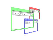 3d brower windows. 3d Illustration of three internet browser windows, isolated on a white background. Part of a series of browser window, and internet concept Royalty Free Stock Photography