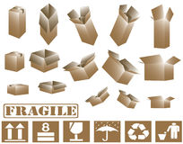 3d brown cardboard boxes and sign collection Royalty Free Stock Images