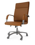 3D Brown chair on a white background. High resolution 3D render Brown chair on a white background Stock Photo