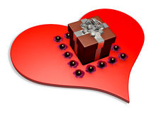 3d brown gift box on heart Royalty Free Stock Photo