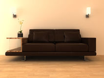 3d brown leather sofa. 3d rendering of modern interior with brown leather sofa Royalty Free Stock Images