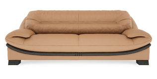 3D brown sofa on a white background Royalty Free Stock Image