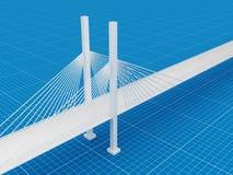 3D brug, blauwdruk 3d concept Royalty-vrije Stock Afbeeldingen