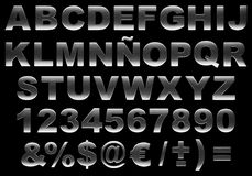 3d brushed steel alphabet isolated. Alphabet 3d letters made of highly detailed brushed steel texture isolated against black background. This image contains a Stock Image